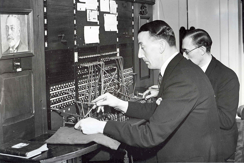 Male operators working  the switchboard at Buckingham Palace. 1935.
