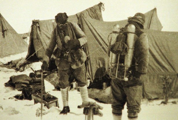 George Mallory and Andrew Irvine at Base Camp before their ill-fated final ascent in 1924.