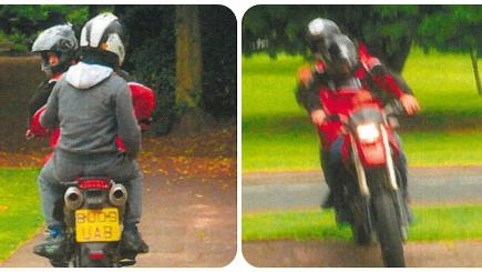 Police are seeking two people caught on camera on a red scrambler motorbike (West Midlands Police/PA)