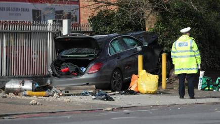 Five people hurt as auto crashes into pedestrians