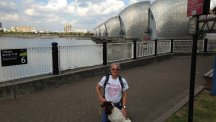 Chris and Lucy the springer spaniel at the Thames Barrier