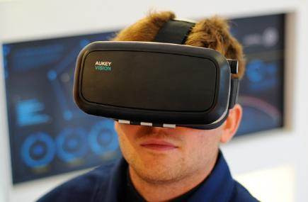 Man with VR goggles