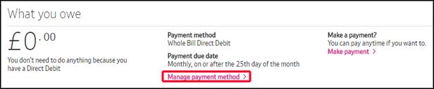 My BT Manage payment method