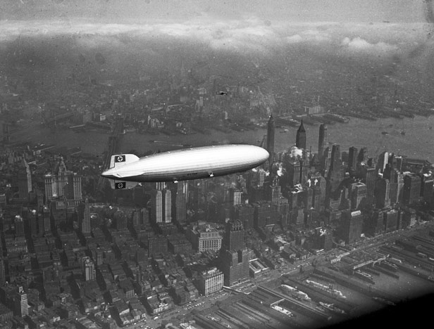 The Hindenburg over Manhattan just hours before the disaster.