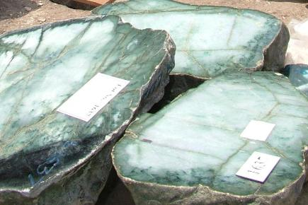 A jade boulder found in Burma could weigh up to 50 tons (AP)