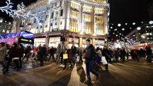 Christmas shoppers at Oxford Circus, London.