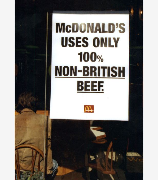 A sign at McDonalds in Kensington at the height of the BSE crisis.
