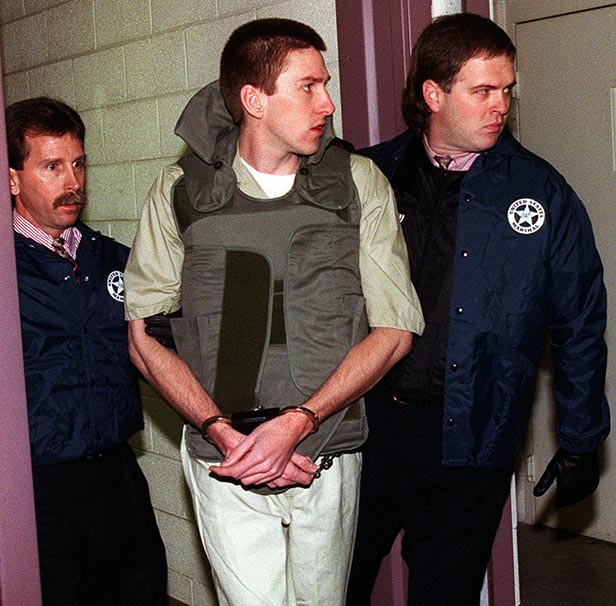 Timothy McVeigh (centre), escorted by US Marshals to his court hearing.