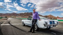 Motoring journalist and TV presenter Quentin Willson pictured with a Ford Mustang.