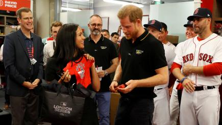 Meghan Hugs Red Sox Relative As Royal Couple Watch