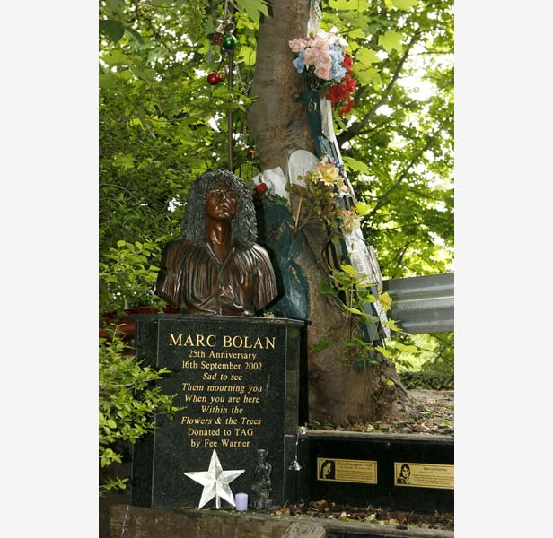 The shrine to Bolan and other T. Rex members at the site of his death in Barnes, south-west London.