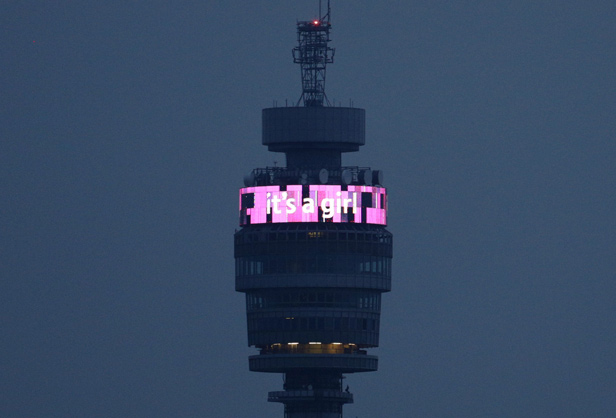 The Information Band on the BT Tower delivers news of the birth of Princess Charlotte in May 2015.
