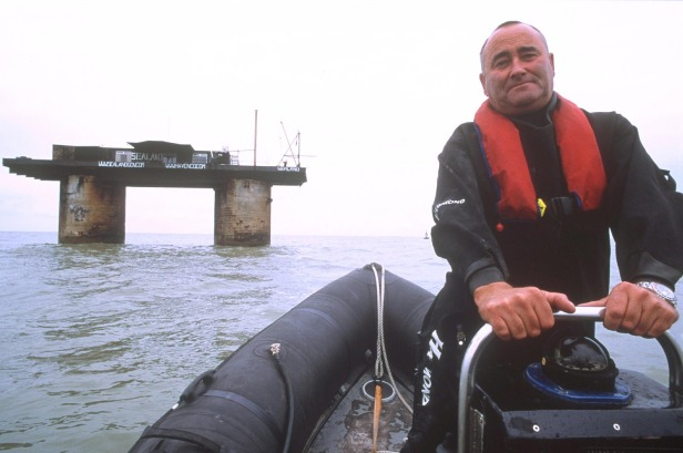 Current Prince of Sealand Michael Bates, pictured with the fort in 2001.