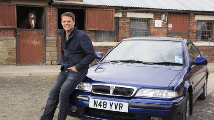 Michael Owen pictured at his stables, with a Rover Coupé that is similar to his first ever car.