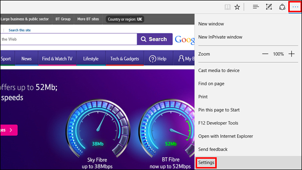 how to open settings on microsoft edge