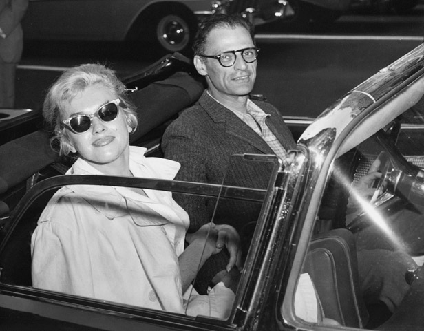 Monroe and third husband Arthur Miller in New York City in 1957.