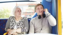 Smartphone etiquette Man and Woman on bus