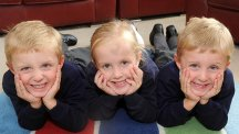 Miracle triplets head off to school