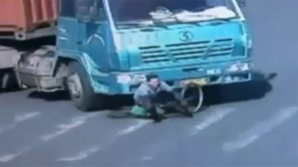 Miraculous escape for cyclist