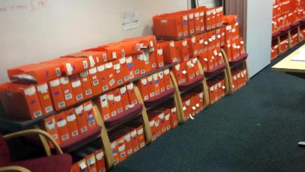 BEST QUALITY AVAILABLEUndated handout photo of boxes of passport applications which are being piled up, taken by a member of staff, who wants to remain anonymous, in a second-floor room in an office in Liverpool which is normally used for meetings and induction sessions.