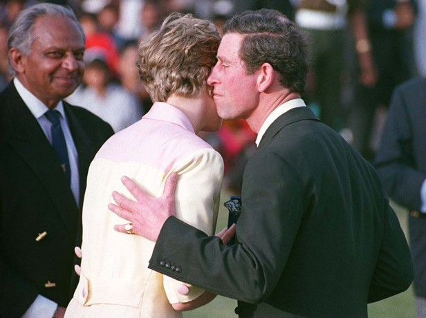 Charles and Diana share an awkward kiss at Jaipur Polo Club, February 1992