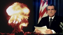 Mock-up of Richard Nixon and a nuclear explosion