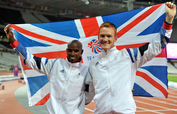 Mo Farah and Greg Rutherford celebrate their respective 10,000m and long jump golds.