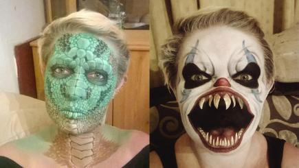 Mum transforms herself with terrifying face paint