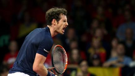Andy Murray winning a point in his Davis Cup match against David Goffin of Belgium.