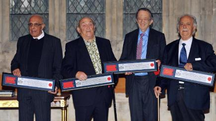 "Ahmed ""Kathy"" Kathrada and Denis Goldberg, who were sentenced to life imprisonment on Robben Island alongside Nelson Mandela, receive the Freedom of the City of London award alongside Lord Joel Joffe and George Bizos from their defence team"