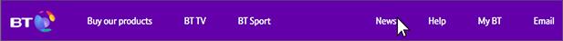 New BT.com menu bar