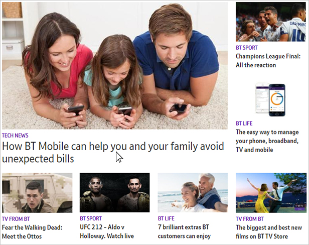 Top of the new BT.com homepage