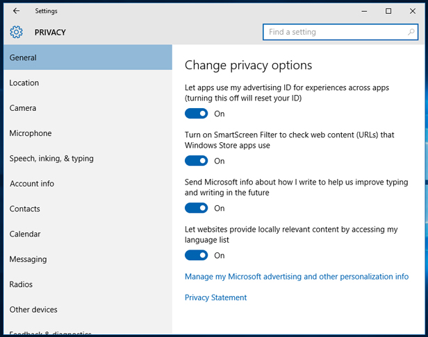 3. Review Windows 10's privacy settings