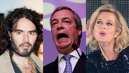 Russell Brand, Nigel Farage and Katie Hopkins