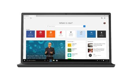 Laptop running Microsoft's new Edge browser