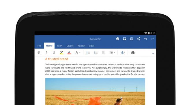 Microsoft Office available free to Android tablet users - BT