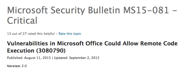 Microsoft Office security bulletin