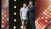 Jon Goodey with presenter Olly Murs during the audition stage for the ITV1 talent show, The X Factor