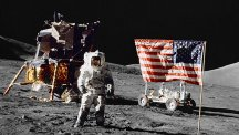 Astronaut Harrison Schmitt stands on the Moon