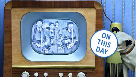 TV set showing Beatles' performance on Ed Sullivan Show