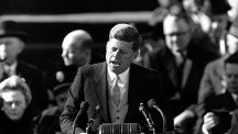 John F Kennedy gives his inauguration speech