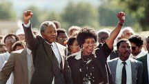 Nelson and Winnie Mandela celebrating his release from prison