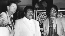 Jerry Lee Lewis Fats Domino and James Brown as they were inducted into the Rock and Roll Hall of Fame