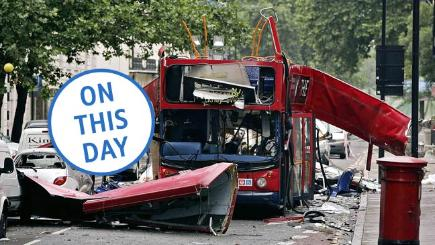 The number 30 double-decker bus in Tavistock Square, which was destroyed by a terrorist bomb.