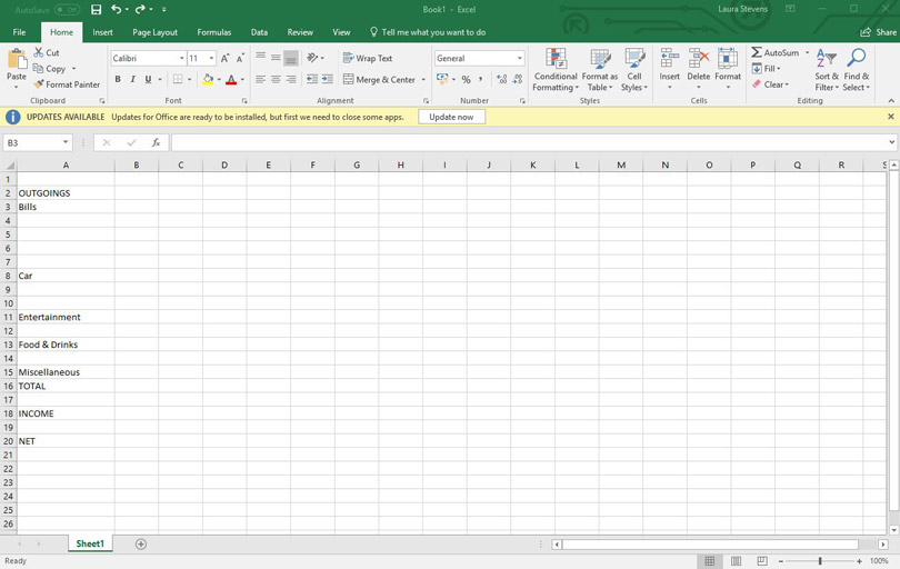 Launch Your Spreadsheet Application And Create A New Blank Sheet Were Going To Start By Listing Types Of Outgoing In Columns B Type The Following