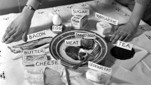 One person's weekly portion of rationed foods in 1951.