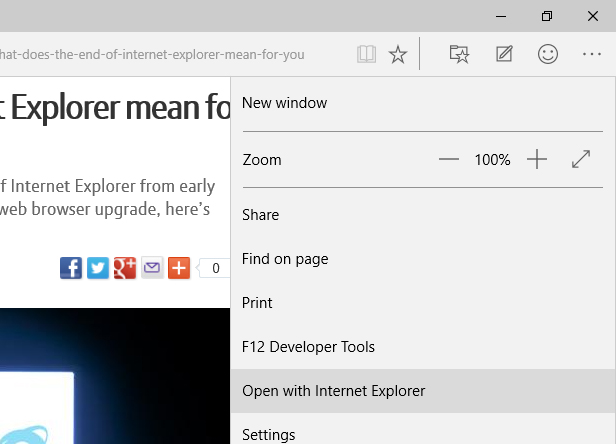 Edge open with IE