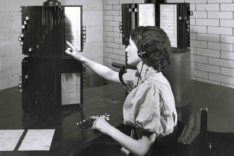 Operator at a Directory Enquiries position. 1935.