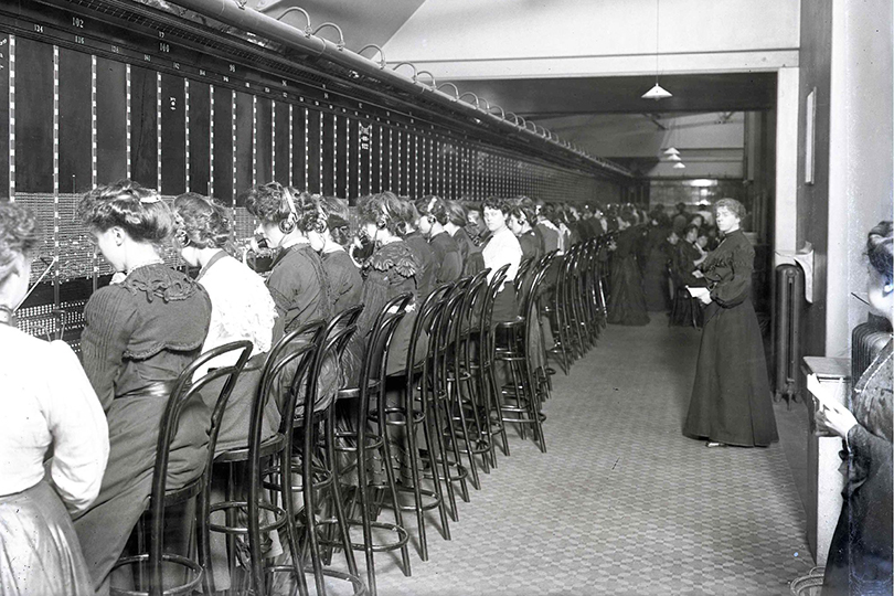 Operators and supervisors at Holborn Telephone Exchange. 1904.