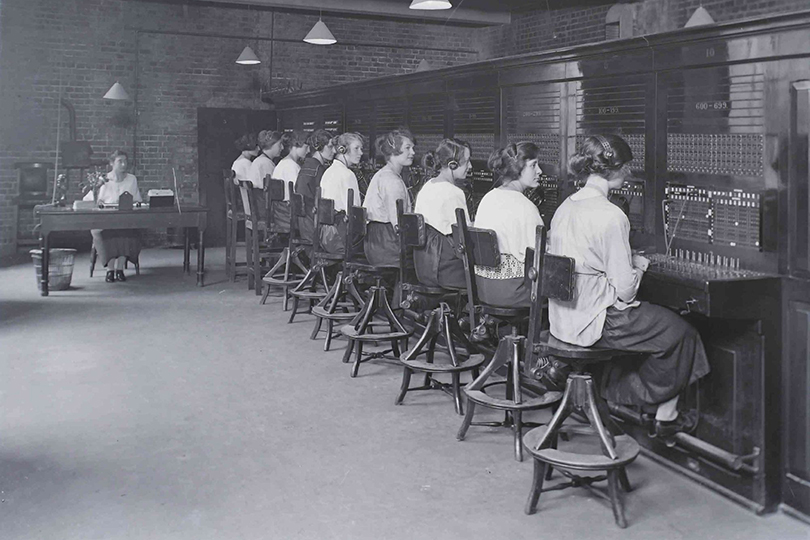Operators at London County Council switchboard. 1922.
